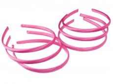 Vincha plástica forrada en raso rosa fuerte 1cm x unidad