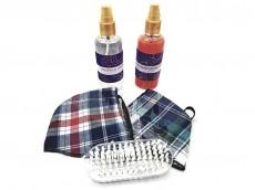 Set jabon liquido x100ml, alcohol con esencias, 2 barbijo de tela reversibles y cepillo de uñas