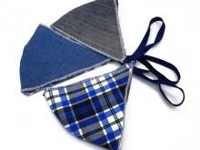 Tapa boca de tela de jean y escocés 4 capas x unidad