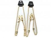 Holder portabarbijo de cadena con perla y strass x unidad