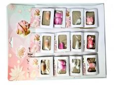 Uñas postizas con francesita colores surtidos x blister de 12 sets