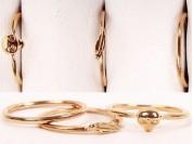 Set x 3 anillos falange corazon, calabera y liso