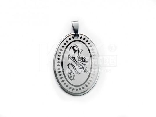 Dije acero grabado medalla oval dragon