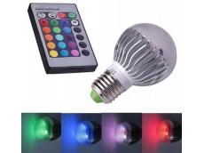 Lámpara led rgb bulbo E27 3W con control remoto
