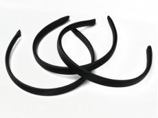 Vincha plástica forrada en raso negro 1.5 cm