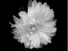 Horquilla flor con perlas x unidad